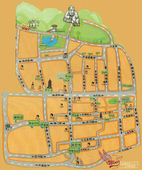 泉州古城手绘地图