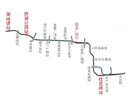 长沙地铁2号线线路图